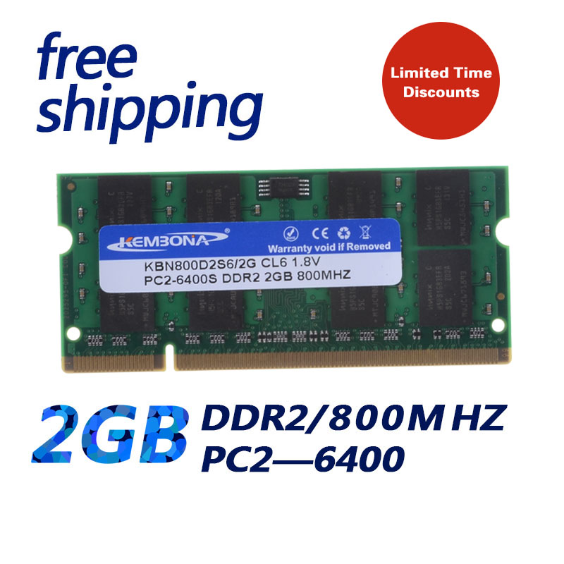 KEMBONA HOT SELL !!! NOTEBOOK LAPTOP SODIMM DDR2  2GB 800MHz  Pc6400 2GB 200pin  For Laptop--Excellent Quality & Free Shipping