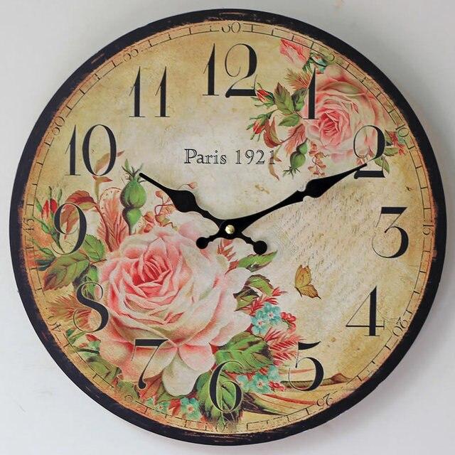 68de4c83b2f Pintado rosas nostalgia móveis Paris primavera sólida parede de madeira  relógio eletrônico relógio de parede quarto