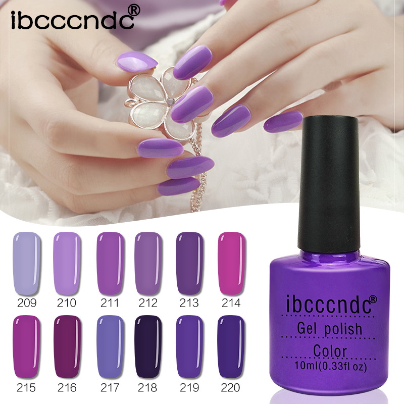 IBCCCNDC 10ML 12pcs/lot Purple Series UV Gel Nail Varnish Nail Gel Polish Gel Lak LED UV Nail Art with Gift Box Manicure 12pcs lot green series uv gel nail polish led lamp gel lacquer gel polish vernis semi permanent gel varnish nail primer base top