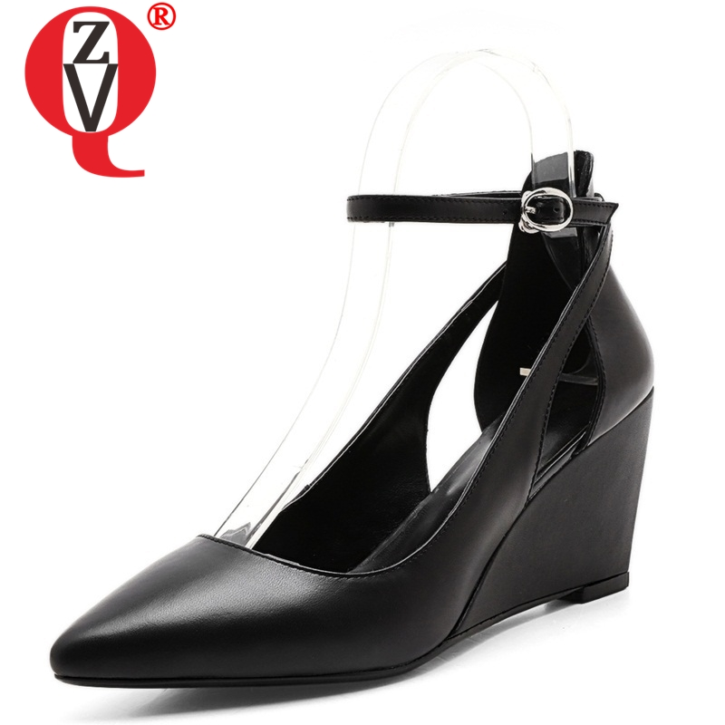 ZVQ 2019 spring women shoes genuine leather woman 8cm High heels pumps office ladies big size
