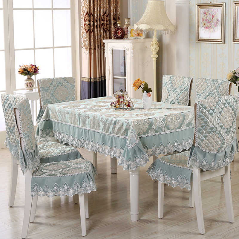 European Style 9pcs/set Home Table Cloth Set with Chair Cover Rectangular Tablecloth for Wedding Lace Table Cover toalha de mesaEuropean Style 9pcs/set Home Table Cloth Set with Chair Cover Rectangular Tablecloth for Wedding Lace Table Cover toalha de mesa