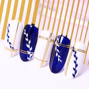 Image 3 - Złoto srebro 3D naklejka do paznokci taśma paski na paznokcie linie projekt wielkoformatowe paski klej DIY folia motyl paznokci naklejki ozdobne wystrój