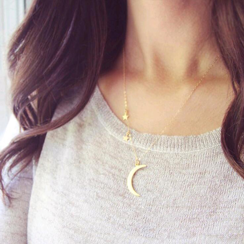 Tomtosh New Summer Jewelry Fashion Cute Sequins Charm Stars Moon Pendant Necklace For Women Gift