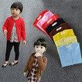 Meninas do bebê Cardigan Criança Crianças Cores Doces Camisola de Malha da Longo-Luva de Lã Quente Camisola Primavera/Outono Escola Básica Camisola menina