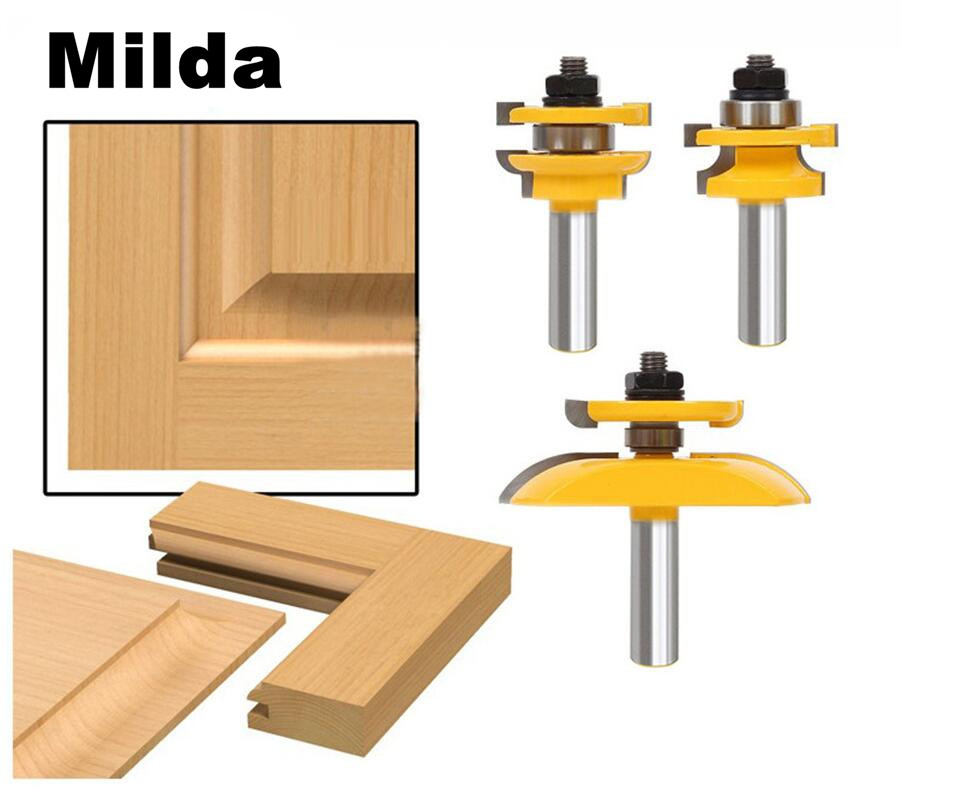 3 Pcs 1/2'' Shank Rail & Stile Ogee Blade Cutter Panel Cabinet Router Bits Set Milling cutter Power Tools Door knife Wood Cutter 3pcs 1 4 wood milling cutter round rail and stile router bits set cove raised panel tools endmill