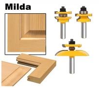 """Fraise à bois, 3 pièces, Rail, tige de 1/2 """", lame Ogee, armoire, ensemble de mèches de routeur, outils électriques, couteau de porte, pour armoire"""