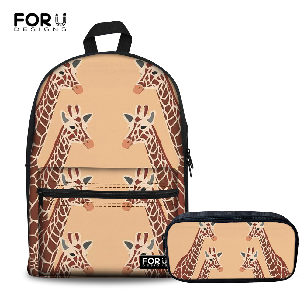 FORUDESIGNS Women Backpack for School Teenagers Girls Rucksack Moclila GIRAFFE KANGAROO Print Cotton Backpack Female Bookbag