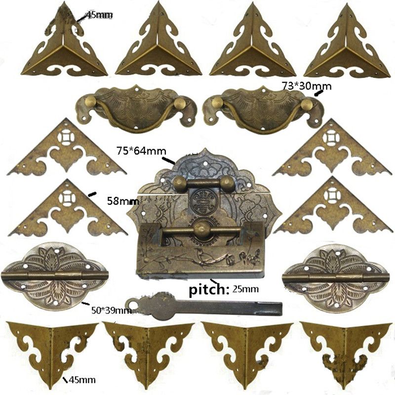 Antique Brass Lock Set,For Wooden Box,Vase Buckle Box Hasp Latch Lock,Decorative Hasp,Pattern Carved Hinge+Handle+Lock,1Set
