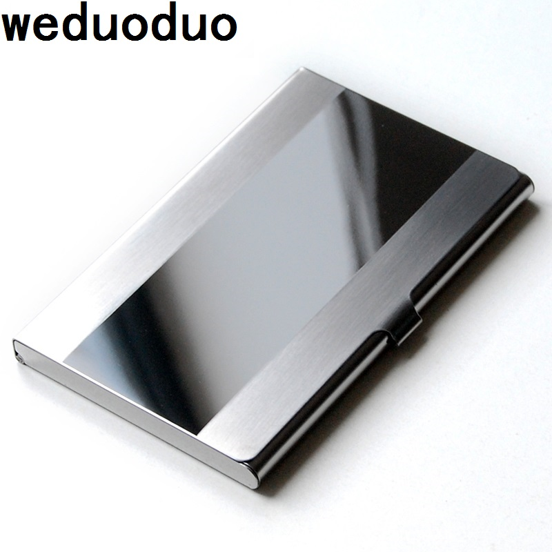 Stainless Steel Card Holder Waterproof Aluminium Metal Business ID Name Credit Card Holder Cover Birthday Gift Cardcase in Card ID Holders from Luggage Bags