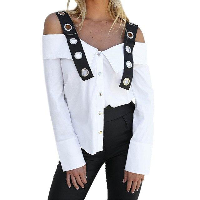 נשים ארוך שרוול לבן מוצק כפתור קר מכתף חולצה למעלה blusas mujer דה moda blusas mujer דה קימונו חולצה blusas