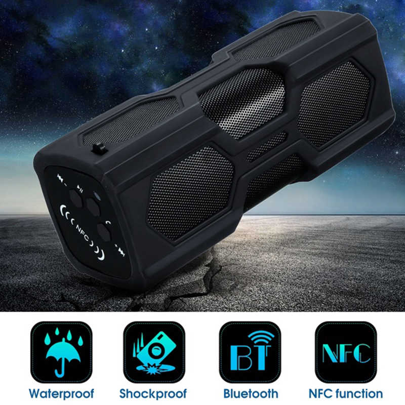 Nirkabel Bluetooth Speaker NFC Portable Kolom Tahan Air Bass Stereo Subwoofer 10W Musik BOOMBOX