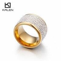 Kalen Chile Gold Finger Rings For Women High Quality Stainless Steel Full Rhinestone Femme Ring Luxury