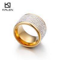 Kalen Chile Gold Finger Rings For Women High Quality Stainless Steel Full Rhinestone Femme Ring Luxury
