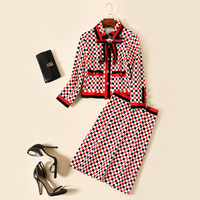 New women's European and American high end brand runway looks small sweet wind coat packet buttock skirts temperament set