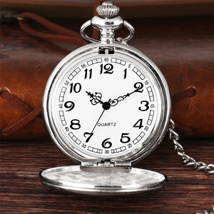 Luxury Smooth Silver Pendant Pocket FOB Watch Modern Arabic Number Analog Clock Men and Women Fashion Necklace Chain Unisex Gift