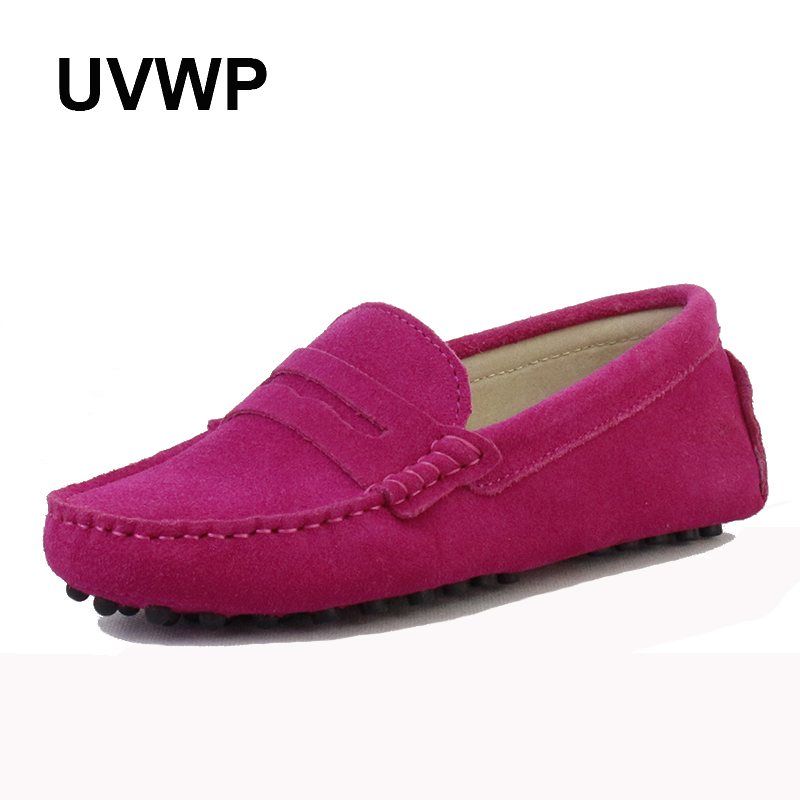 Shoes Loafers Moccasins Driving Slip-On Casual Women 100%Genuine-Leather Lady