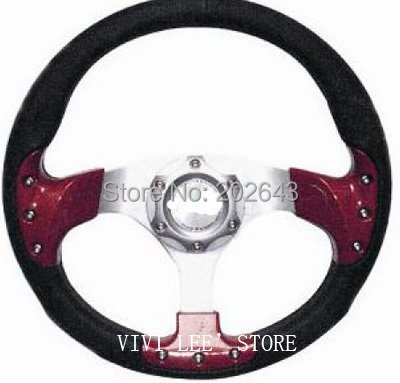 RACING car steering wheel with pvc 13 320MM red/silver with aluminum leather sport steering wheel for car styling