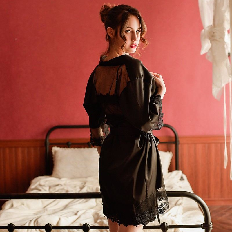 Sexy female Ice Silk Mesh Hollow Split Deep V Backless Nightgown Home Clothes Perspective Lace Satin Nightdress set and Robe in Robe Gown Sets from Underwear Sleepwears