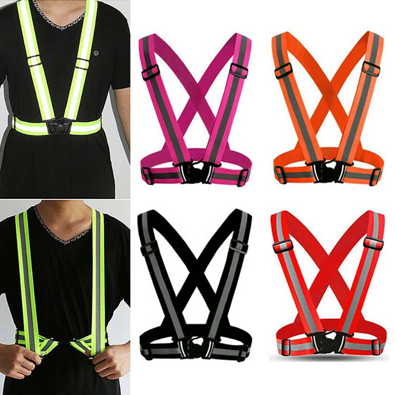 Drop Ship Reflective Vest High Visibility Unisex Outdoor Running Cycling Safety Vest Adjustable Elastic Strap Fluorescence Work
