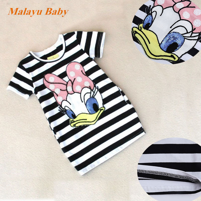 [Malayu Baby] Toddler Girl Dress Summer New Clothes For Girls Striped Cartoon Embroidery Girls Dress 100% Cotton Kids Clothes