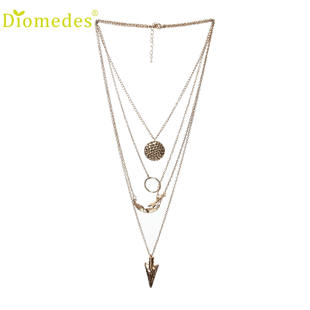 Diomedes Fashion Necklace Women Multilayer Irregular Crystal Gold Pendant Chain Statement Jewelry Charm Necklace Choker