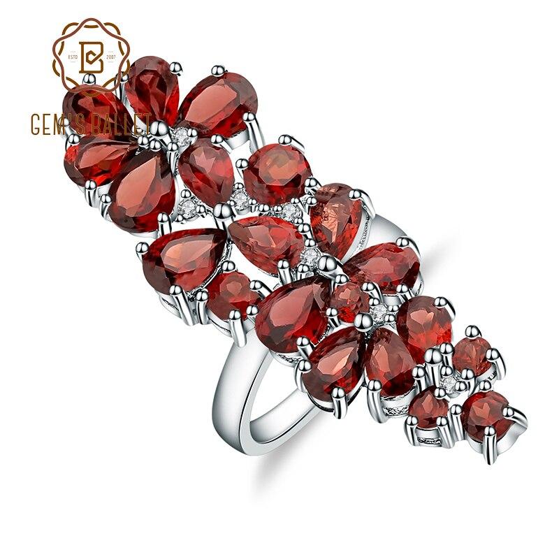 GEM'S BALLET 1.056Ct naturel rouge grenat bague en pierres précieuses solide 925 en argent Sterling Cocktail anneaux beaux bijoux pour les femmes de mariage