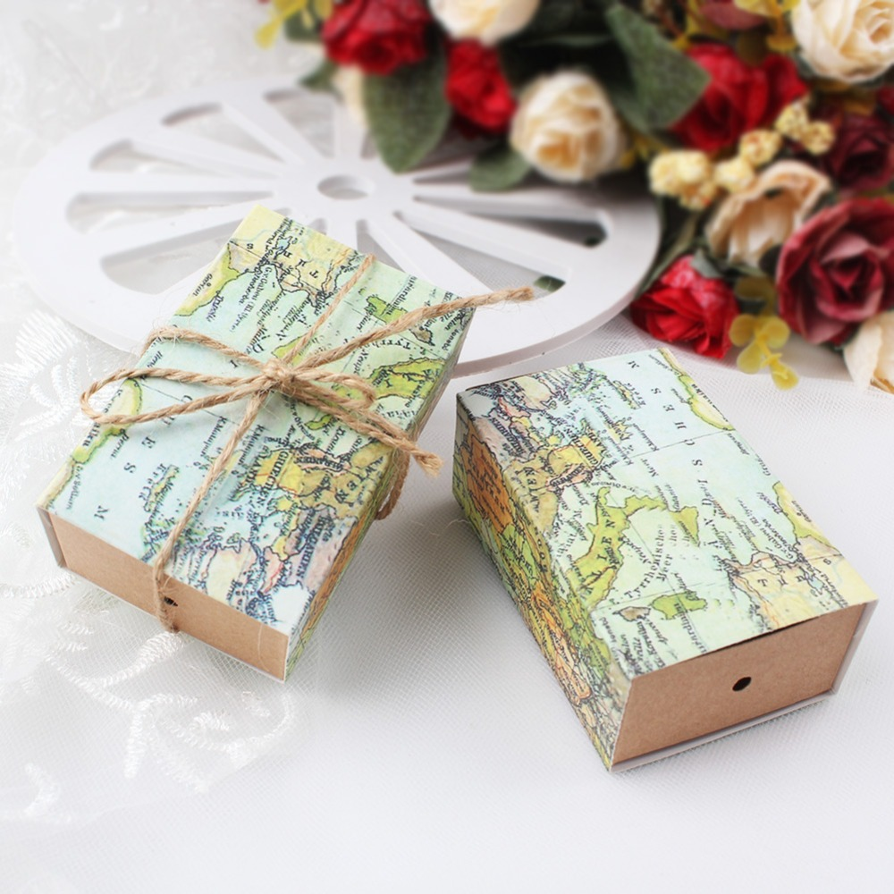 50pcs Paper Gift Boxes for Wedding Decoration Travel Theme Candy Box Vintage Kraft Christmas Party Favors and Gifts Bag
