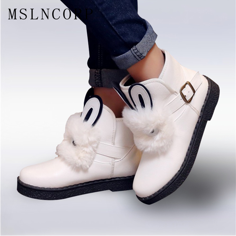 Plus size 34-45 New Womens Ankle Boots Rabbit hair Waterproof Platform Winter Fur Snow Boots Woman Zapatos Mujer Casual Shoes winter 2016 womens boots big size handmade rhinestone studded flat shoes woman platform faux fur snow boots casual ankle booties