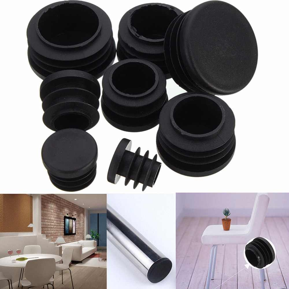 10 piezas 16/19/22/25/28/30/32/35mm de plástico negro tapón de pierna de muebles tapas de extremo de obturación tapón de inserción para tubo redondo