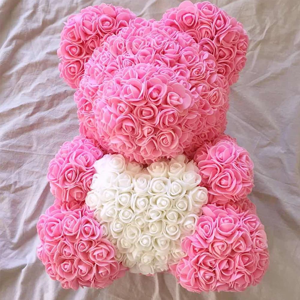 2018 San Valentín regalo 22 PE para siempre amor Rosa oso regalo novia regalo aniversario regalo de boda (gratis personalizar cinta corbata)
