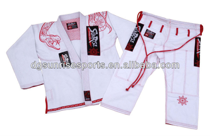 Free Shipping-New Sunrise Brazilian Jiu Jitsu Gi BJJ Gi  100% Preshrunk Cotton Fabric - White A1 To A4