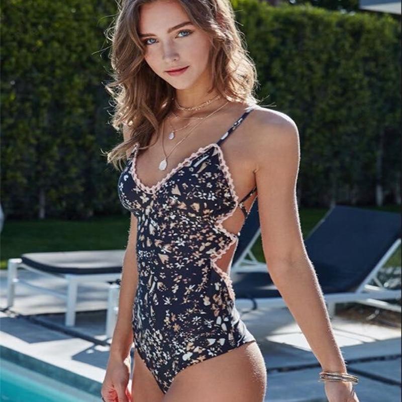 2018 One Piece Swimsuit Sexy Flower Print Swimwear Women Push Up Swim Suits Lace Monokini Bandage Bathing Suits Beachwear
