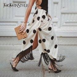 TWOTWINSTYLE Tassel Patchwork Sexy falda para mujer de cintura alta Cruz dividida Polka Dot faldas Midi moda femenina 2019 verano