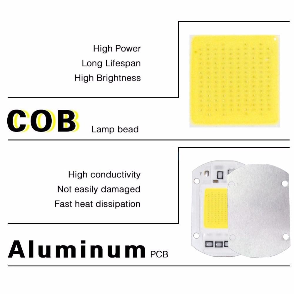 COB Lamp Chip LED Bulb Smart IC Driver DIY Spotlight Floodlight Energy Saving Outdoor 10W 20W 30W 50W High Power 110V 220V 12V