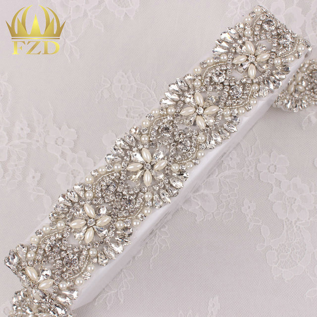 (10yards) Wholesale 1 Yard Handmade Sliver Base Sewing Clear Stones Iron On  Applique Pearl Rhinestone Trim for Bridal Wristband b349bd9c87e7