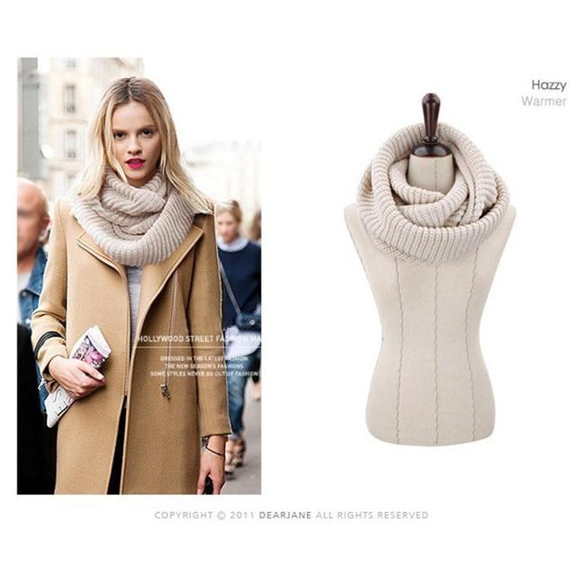Новый 2016 вязаный шарф зимы женщин теплый кольцо мода сплошной цвет трубки шарф женский дамы теплый уютный шарф шеи