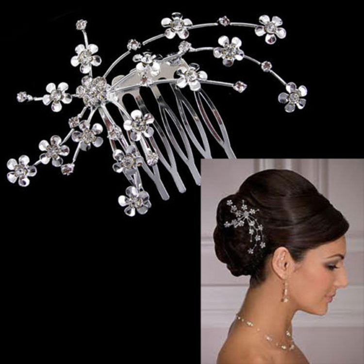 Aliexpress Buy New Charm Bridal Hair Accessories Wedding Party Plum Flower Rhinestone Pin Jewelry Casamento KopoHa From Reliable