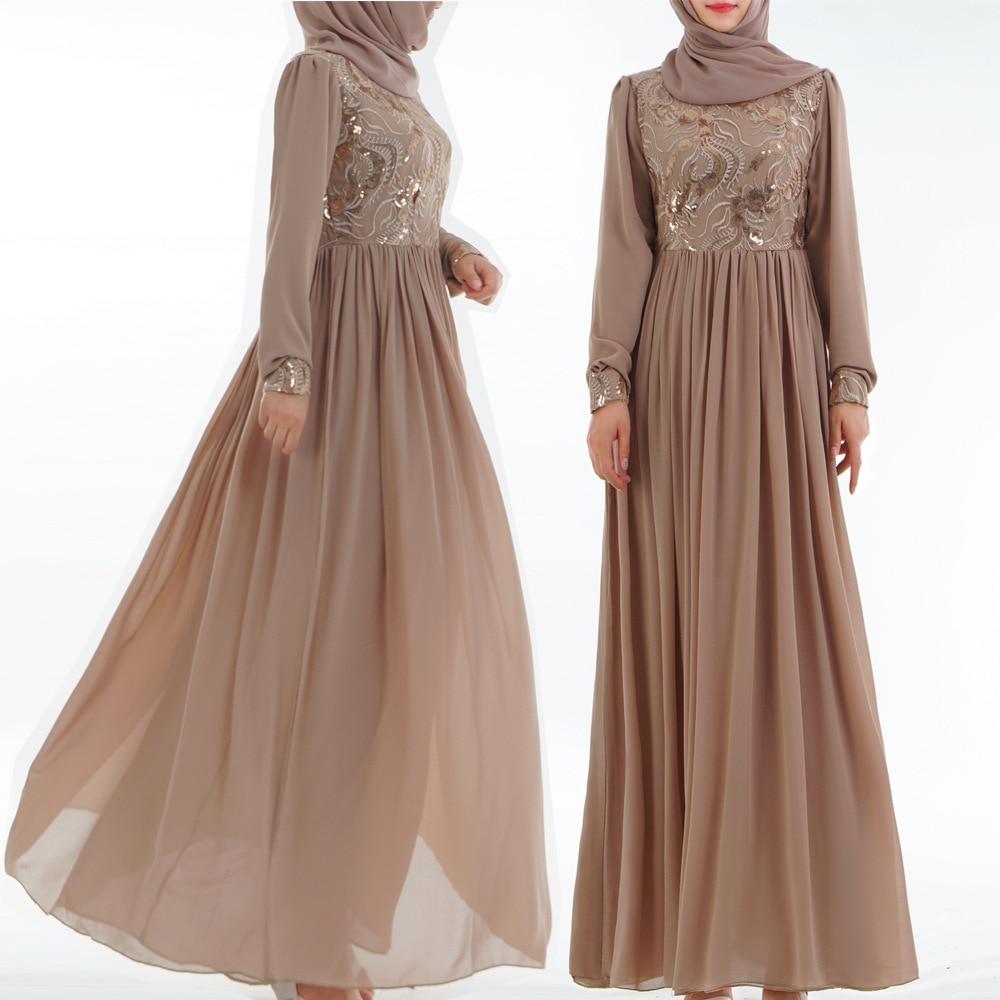1bdf97cd172e Ramadan Abaya 2019 Muslim Dress Sequins Lace Saudi Arabia Long Dress  Moroccan Kaftan Islam Chiffon Clothes