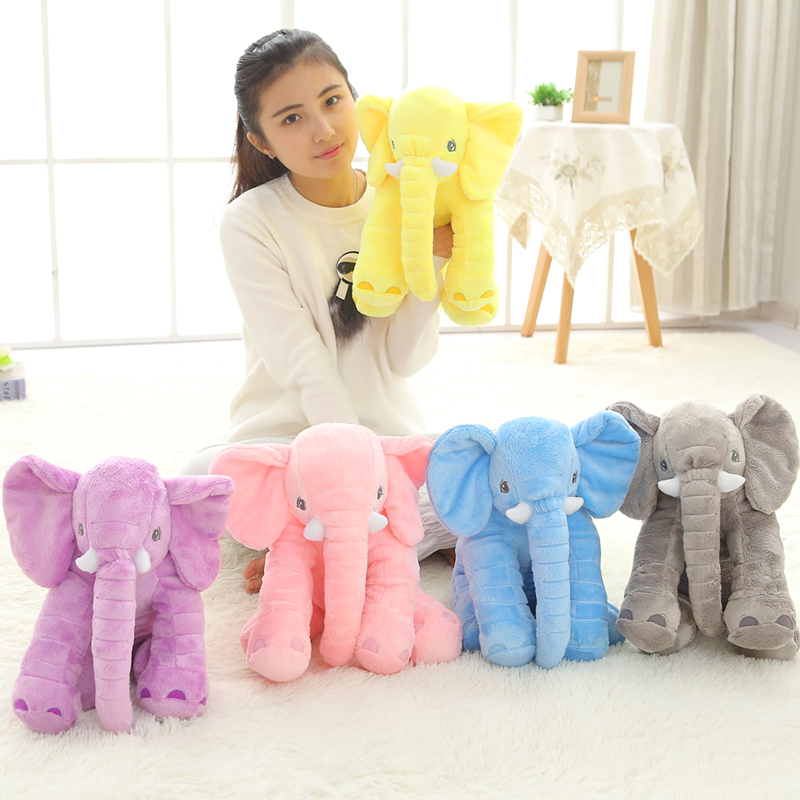 цена 1pc 40cm New Fashion Animals toys Stuffed Soft Elephant Pillow Baby Sleep Toys Room Bed Decoration Plush Toys for kids онлайн в 2017 году