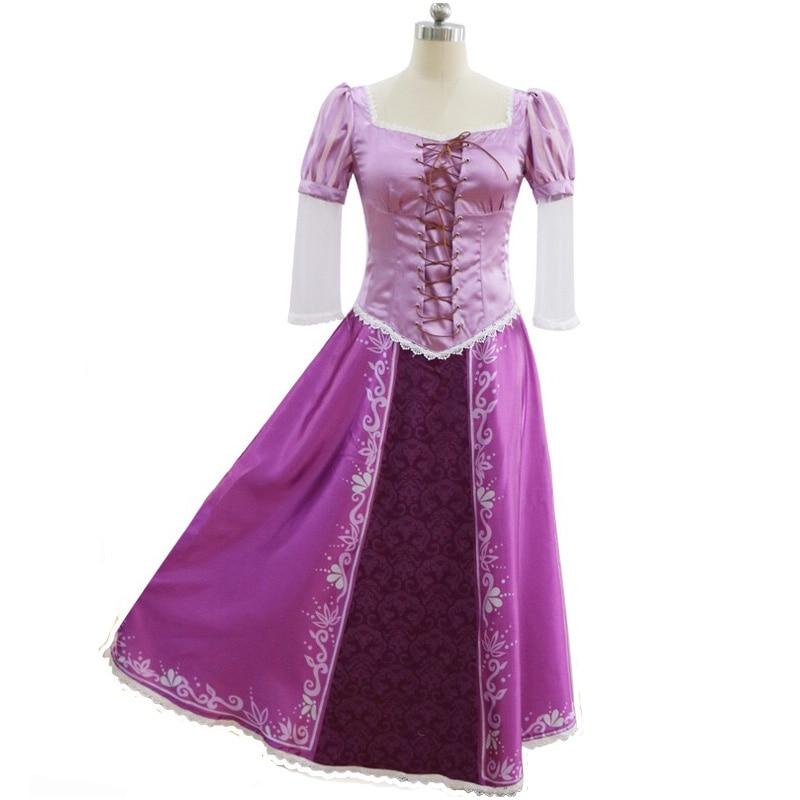 Women Halloween Rapunzel Princess Costume Ladies Medieval Long Purple Ball Party Evening Dress For Teen Girls S XL Plus Size