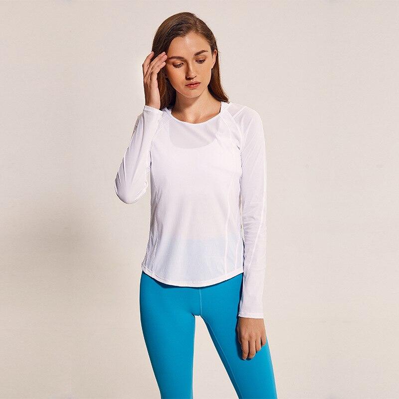 Femmes chemise de yoga Sexy Maille Patchwork See-through Sport Top à manches longues À Séchage Rapide Remise En Forme Respirant Courir Workout Gymwear