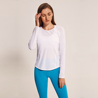 Women Yoga Shirt Sexy Mesh Patchwork See through Sport Top Long Sleeve Quick Dry Fitness Breathable Running Workout Gymwear