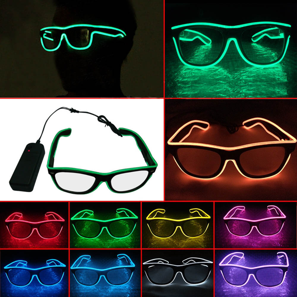 hight resolution of eye wear glasses neon led strip light battery powered glowing special shutter light up el wire for holiday party bar in led strips from lights lighting