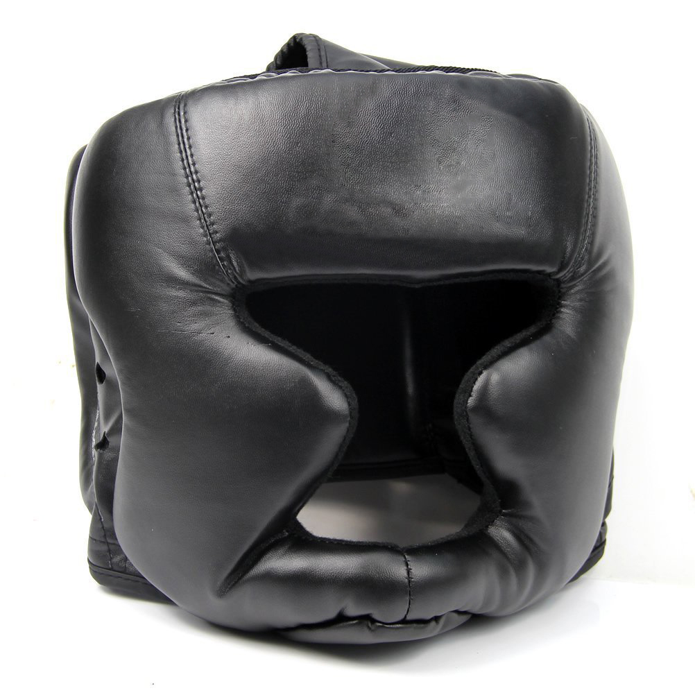 ¡PROMOCIÓN! Black Good Headgear Head Guard Training Casco Kick Boxing Equipo de protección