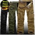 2016 Зима плюс толстый бархат Multi Карман грузов брюки свободные повседневные Комбинезоны Брюки-Карго военные мужские длинные брюки плюс размер