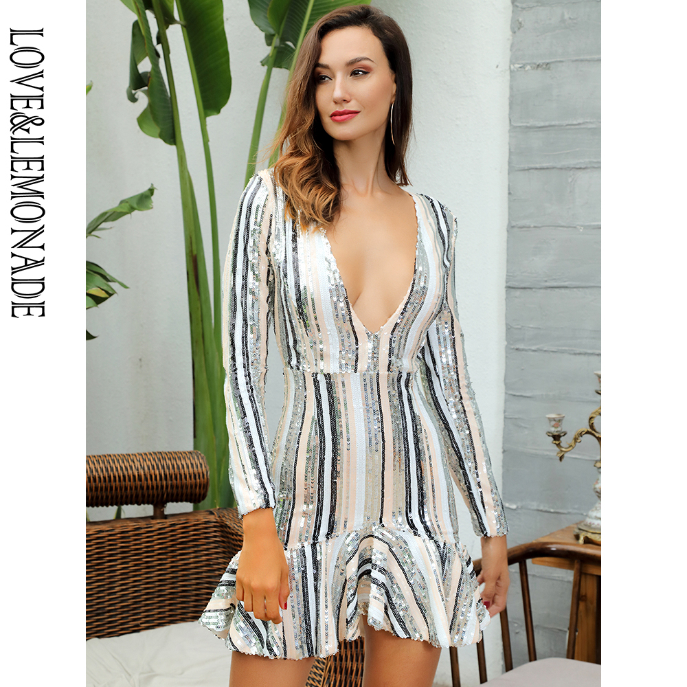 Love Lemonade Sexy Deep V Neck Ruffled Trim Striped Sequins Long Sleeved Dress LM81553
