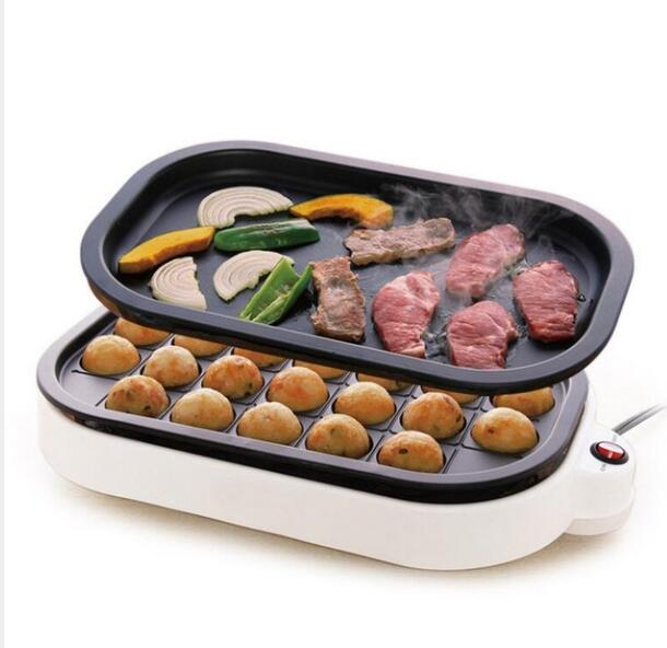 Small Takoyaki Maker BBQ Grill Mini steak Frying <font><b>pan</b></font> <font><b>baking</b></font> plates <font><b>electric</b></font> Octopus Balls Machine 24 holes image