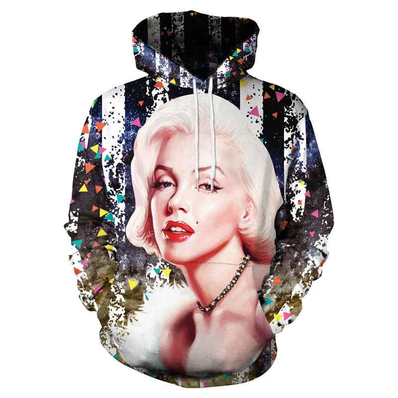 abba1ed80593 New Christmas Hoodies Men Women Funny 3D Galaxy Space Marilyn Monroe Print  Hoodie Sweatshirt Casual Pullovers