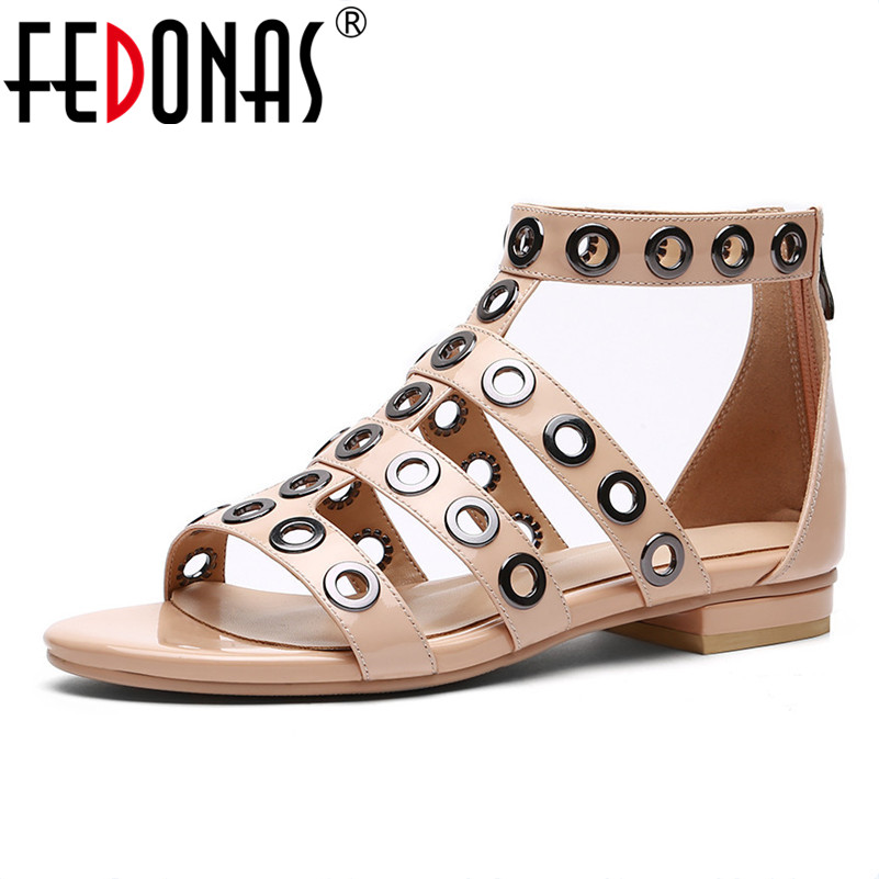 FEDONAS Women Sandals 2018 Summer Patent Leather Soft Sandals Female Rivets Sexy Flats Heels Party Shoes Woman New Sandals women sandals fashion low heels sandals for summer shoes woman ankle strap flats sandals shoes soft bottom casual shoes 35 44
