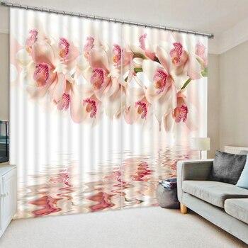 Фото 3D шторы для гостиной окно белый цветок шторы
